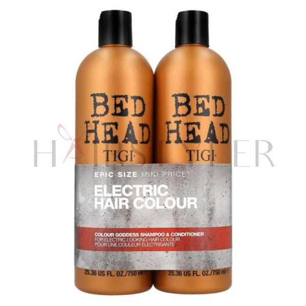 Tigi Bed Head Colour Goddess Twins Set, zestaw do włosów farbowanych, szampon + odżywka, 2 x 750 ml