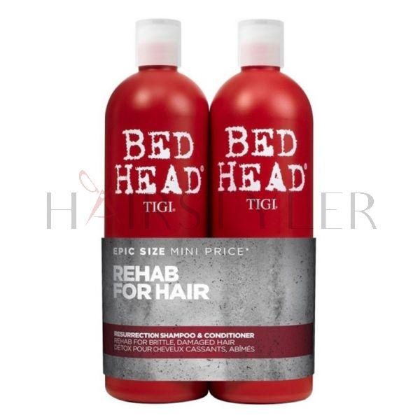 Tigi Bed Head Resurrection Twins Set, zestaw do włosów słabych i łamliwych, szampon + odżywka, 2x750ml