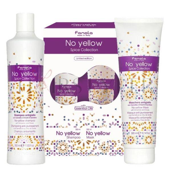 Fanola No Yellow Spice Collection, zestaw niwelujący żółte odcienie, szampon 350 ml + maska 300 ml