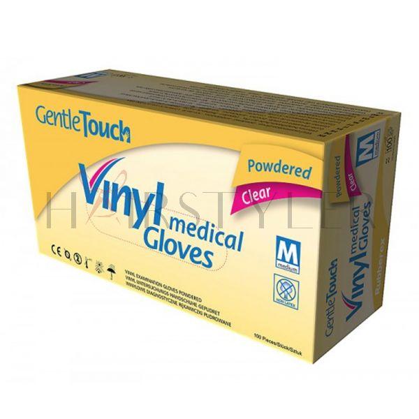 Gentle 2 Touch Vinyl medical Gloves, winylowe, pudrowane rękawiczki diagnostyczne, 100szt/op