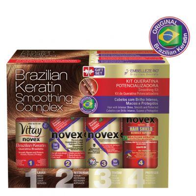 Novex Brazilian Keratin Smoothing Complex, zestaw do wygładzania włosów, 4 x 100 ml