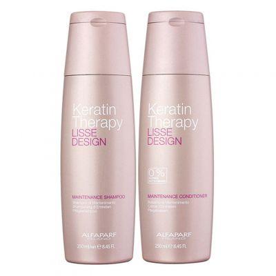 Alfaparf Keratin Therapy Lisse Design - Zestaw szampon 250 ml + odżywka 250 ml