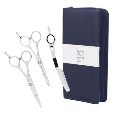 """Fox Color White Set, zestaw - nożyczki 5.5"""", degażówki 5.5"""", nóż chiński oraz etui"""