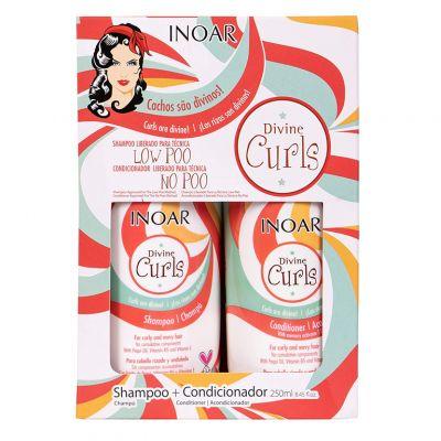 Inoar Divine Curls Duo Pack, zestaw do pielęgnacji włosów kręconych,  szampon + odżywka, 2 x 250ml