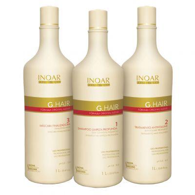INOAR G-Hair, zestaw do prostowania keratynowego, Szampon 250 ml+ Keratyna 250 ml+ Maska 250 ml