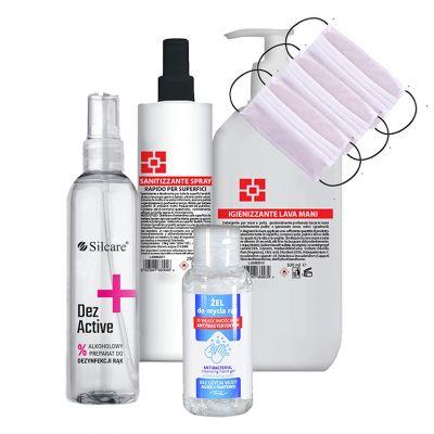 Zestaw do dezynfekcji, 3 jednorazowe maseczki ochronne GRATIS