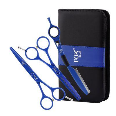 """Fox Color Blue Set, zestaw - nożyczki 5.5"""", degażówki 5.5"""", nóż chiński oraz etui"""