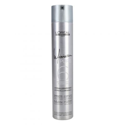 Loreal Infinium Pure Extra Strong, bezzapachowy ekstra mocny lakier do włosów, 500 ml