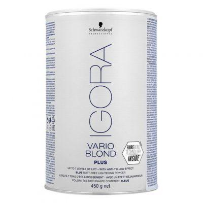 Schwarzkopf Igora Vario Blond Extra Plus, niebieski puder rozjaśniający do 7 tonów, 450g