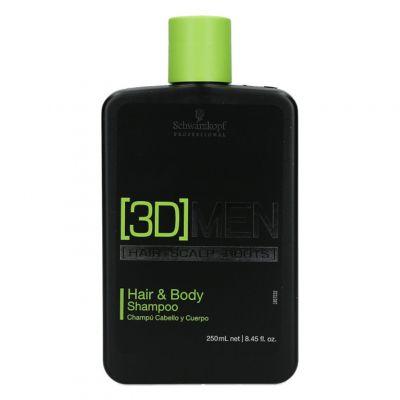 Schwarzkopf 3D Men Hair&Body, szampon do włosów i ciała, 250ml