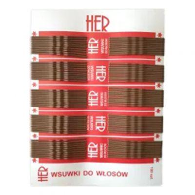 Her wsuwki do włosów, kolor brąz, krótkie 4,5 cm i długie 6 cm